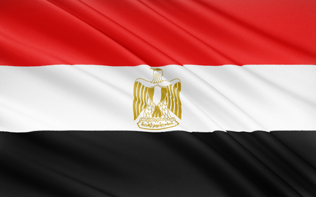 egypt revolution: The flag of Egypt is a tricolor consisting of the three equal horizontal red, white, and black bands of the Arab Liberation flag dating back to the Egyptian Revolution of 1952. The flag bears Egypts national emblem, the Eagle of Saladin.