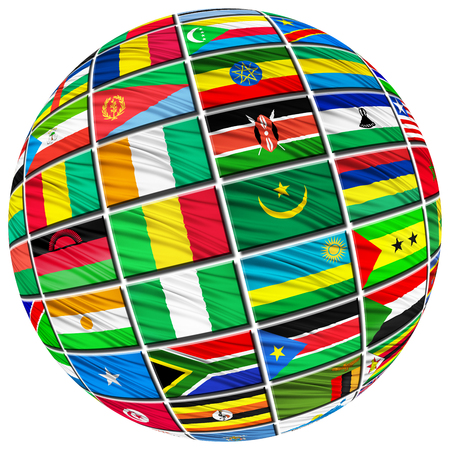 country flags: Collage of the flags of African countries in the form of spheres on a white background