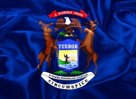 The national flag of the State of Michigan, Lansing - United States Stock Photo