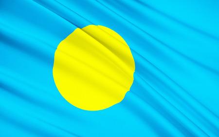 micronesia: The national flag of Palau, Ngerulmud - Micronesia