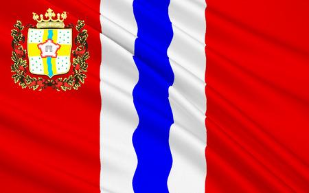 soumis: Le drapeau sujet de la Fédération de Russie - la région d'Omsk, District fédéral sibérien Banque d'images