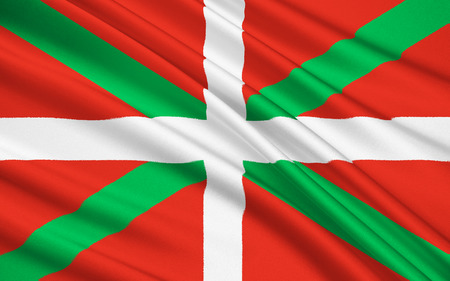 alava: Flag of Basque Country is an autonomous community of northern Spain. It includes the Basque provinces of Alava, Biscay and Gipuzkoa. Stock Photo