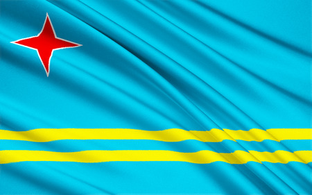 aruba: The national flag of Aruba, Netherlands - Oranjestad