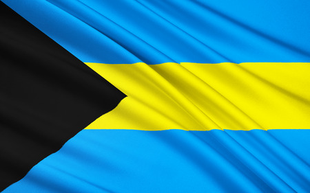 archipelago: The national flag of The Bahamas, an archipelago of islands in the Caribbean. The islands were a British colony from the 18th century until they gained independence within the Commonwealth in 1973. Stock Photo