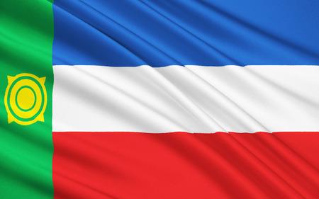 soumis: Le national sous r�serve de drapeau de la F�d�ration de Russie - la R�publique de Khakassie, Abakan, District f�d�ral sib�rien Banque d'images