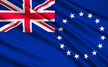 new zealand flag: The national flag of Cook Islands New Zealand, Avarua - Polynesia Stock Photo