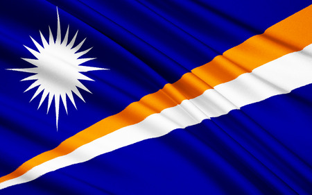 marshall: The national flag of Marshall Islands, Majuro Stock Photo