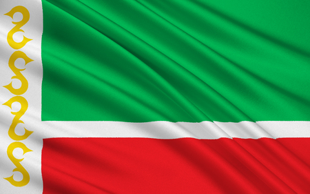 allegiance: The national flag subject of the Russian Federation - Republic of Chechnya, Grozny, the North Caucasus Federal District Stock Photo