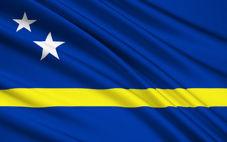 dissolution: Flag of Curacao - represents the Country of Curacao as well as the island area within the Netherlands Antilles from 1984 until its dissolution in 2010. Curacao is now a constituent country of the Kingdom of the Netherlands Stock Photo