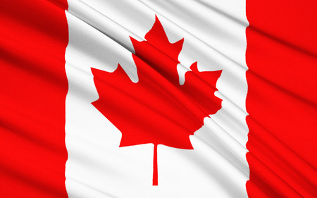 known: The national flag of Canada, also known as the Maple Leaf. Stock Photo