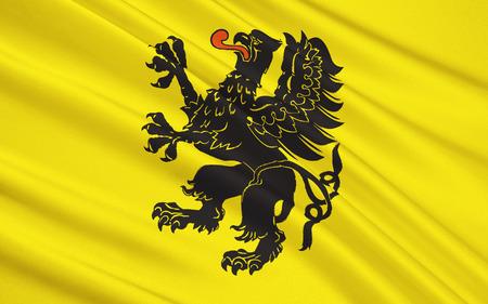 gdansk: Flag of Pomeranian Voivodeship, Pomorskie Region or Pomerania Province in north-central Poland Stock Photo