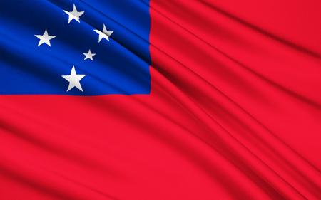 polynesia: The national flag of Samoa, Apia - Polynesia Stock Photo