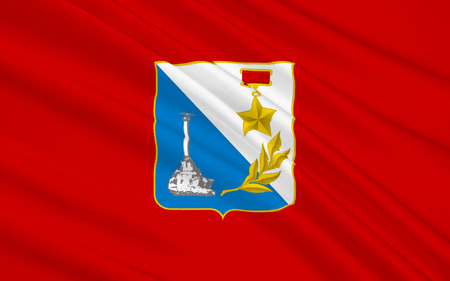 peninsula: Flag of the city in the southwest of the Crimean peninsula on the Black Sea coast - Sevastopol. The main naval base of the Black Sea Fleet of the Russian Federation. Stock Photo