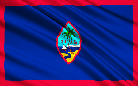guam: The national flag of Guam US, Hagatna - Melanesia Stock Photo