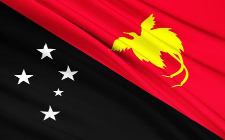 papua new guinea: The national flag of Papua - New Guinea, Port Moresby, Melanesia Stock Photo