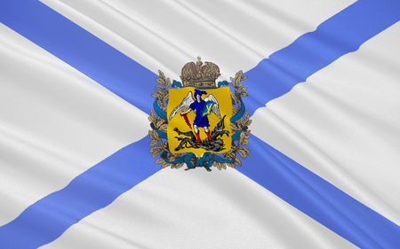 northwestern: The flag subject of the Russian Federation - Arkhangelsk Oblast, Northwestern Federal District of the Russian Federation Stock Photo