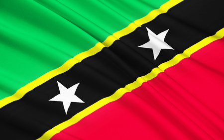la union hace la fuerza: The flag of the Federation of Saint Kitts and Nevis since the country gained independence from Britain in 1983. Foto de archivo