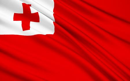 polynesia: The national flag of Tonga, Nukualofa - Polynesia
