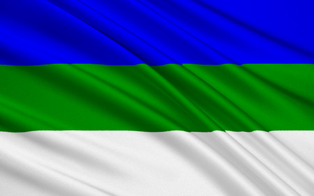 federal: The national flag subject of the Russian Federation - Republic of Komi, Syktyvkar, North-West Federal District Stock Photo