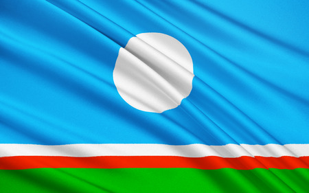 far east: The national flag subject of the Russian Federation - Republic of Sakha Yakutia, Yakutsk, Far East Federal District Stock Photo
