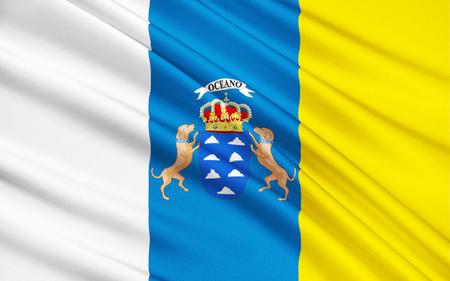 gran: Flag of Canary Islands are a Spanish archipelago is an autonomous community. It includes  Tenerife, Fuerteventura, Gran Canaria, Lanzarote, La Palma, La Gomera and El Hierro.