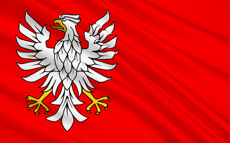 warsaw: Flag of Masovian Voivodeship or Mazovia Province in eastern Poland. In it are Warsaw, Radom, Plock and Siedlce