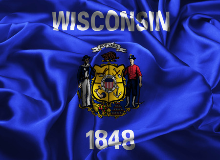 midwest: The national flag of the State of Wisconsin, Madison - United States Stock Photo