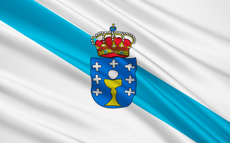 Flag of Galicia is an autonomous community in northwest Spain, with the official status of a historic nationality. It comprises the provinces of A Coruna, Lugo, Ourense and Pontevedra