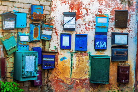 rustiness: Old mailbox modern organizations, hanging on the wall