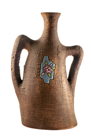 garniture: Ceramic Chinese vase isolated on white background Stock Photo