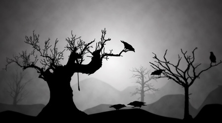 dying: Gloomy landscape of the dying earth, silhouettes trees and crows