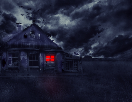 dismal: Old abandoned house with ghosts in the field