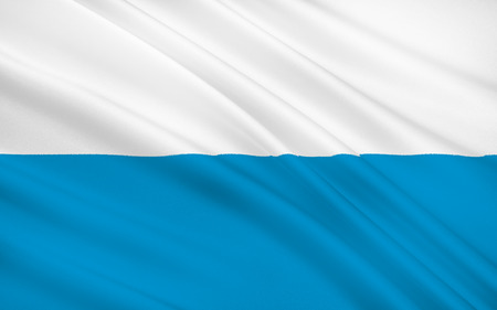 federal republic of germany: Flag of Free State of Bavaria - the land in the south and southeast of the Federal Republic of Germany Stock Photo