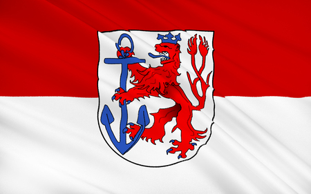 north rhine westphalia: Flag of Dusseldorf - a city in the west of Germany, in the Rhine-Ruhr region, the capital of the federal state of North Rhine-Westphalia state government and the residence of the district of Duesseldorf. Stock Photo
