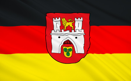 federal republic of germany: Flag of Hannover - the administrative center of Lower Saxony in the Federal Republic of Germany