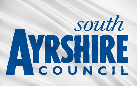 orientated: Flag of South Ayrshire is one of 32 council areas of Scotland, covering the southern part of Ayrshire.