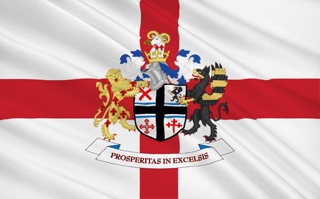 helens: Flag of Metropolitan Borough of St Helens is a metropolitan borough of Merseyside, in North West England Stock Photo