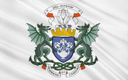 dundee: Flag of Dundee officially the City of Dundee, is Scotlands fourth largest city and the 51st most populous built-up area in the United Kingdom Stock Photo