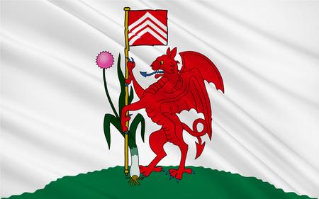 orientated: Flag of Cardiff is the capital and largest city in Wales and the tenth largest city in the United Kingdom Stock Photo