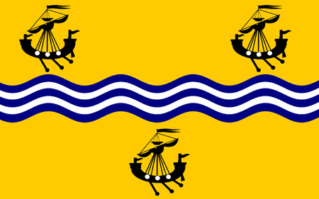 isles: Flag of Outer Hebrides, also known as the Western Isles or the Long Isle or Long Island is an island chain off the west coast of mainland Scotland