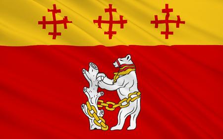 landlocked: Flag of Warwickshire is a landlocked non-metropolitan county in the West Midlands region of England. Stock Photo