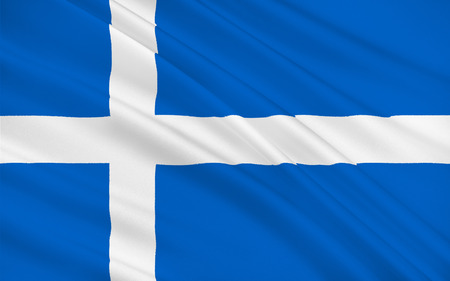orientated: Flag of Shetland also called the Shetland Islands, is a subarctic archipelago of Scotland that lies northeast of the island of Great Britain and forms part of the United Kingdom. Stock Photo