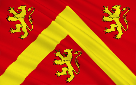 Flag of Anglesey or Ynys Mon is an island of the north-west coast of Wales, United Kingdom of Great Britain