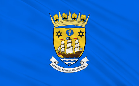 orientated: Flag of Inverclyde is one of 32 council areas used for local government in Scotland. Stock Photo