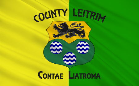 Flag of County Leitrim is a county in Ireland. It is named after the village of Leitrim and is based on the historic Gaelic territory of West Breifne. Stock Photo