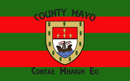pledge of allegiance: Flag of County Mayo is a county in Ireland. In the West of Ireland, it is part of the province of Connacht and is named after the village of Mayo, now generally known as Mayo Abbey. Stock Photo