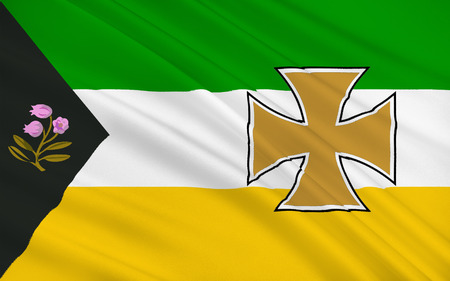 Flag of County Offaly is a county in Ireland. It is part of the Midlands Region and is also located in the province of Leinster.