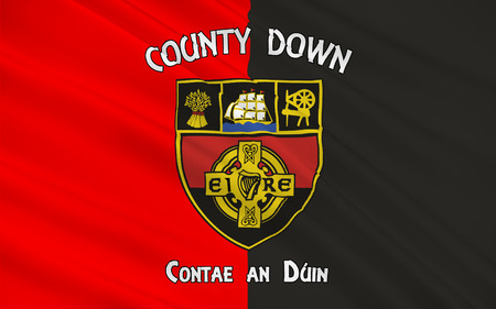 contae: Flag of County Down is one of six counties that form Northern Ireland, situated in the northeast of the island of Ireland.
