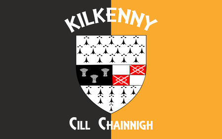contae: Flag Kilkenny is a city located in south-east part of Ireland and the county town of County Kilkenny Stock Photo
