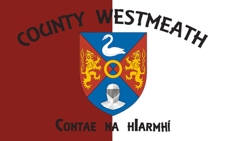 leinster: Flag of County Westmeath is a county in Ireland. It is in the province of Leinster and is part of the Midlands Region. It originally formed part of the historic Kingdom of Meath (Midhe).